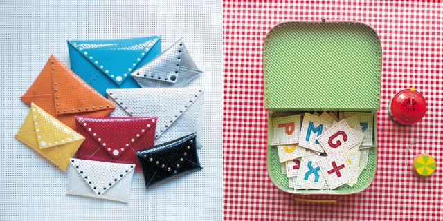 POchette et lettres en Vinyle Laqué Perforé®